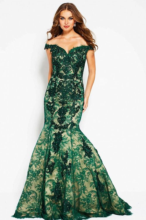 92201840def0 Jovani - 54418 Floral Embroidered Off Shoulder Mermaid Dress In Green and  Neutral