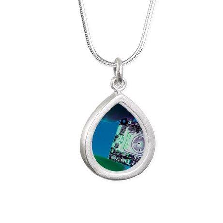 Miniature spy camera Silver Teardrop Necklace on CafePress.com