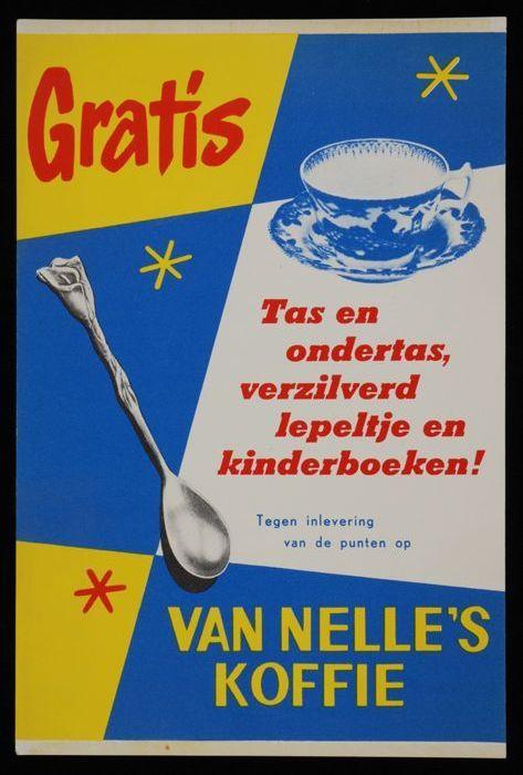 poster Van Nelle met theelepel en kop en schotel
