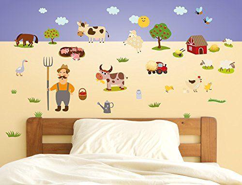 Great Wandsticker Kinderzimmer Bauernhof Wandtattoo Tiere Wandsticker de