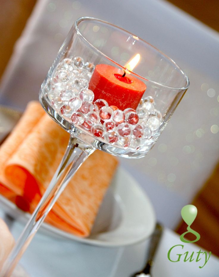 Sviečka na svadbu - oranžová sviečka v gélových gulôčkach