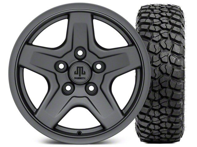 Mammoth Boulder Charcoal Wheel - 16x8 Wheel - and BFG KM2 Tire 305/70- 16 (07-17 Wrangler JK)