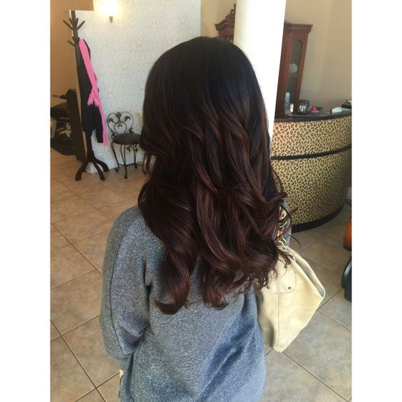 Dark Balayage with chocolate lowlights very subtle and natural long layers: