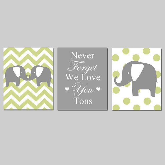 """CUUTE; I love the idea of a mommy and daddy elephant on either side and maybe a baby elephant in between, like """"we support you!"""" so sweet  Elephant Nursery Art Trio  Set of Three 8x10 Prints  by Tessyla, $55.00"""