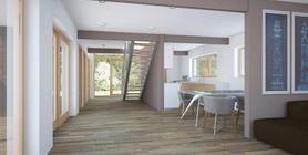 Projeto de casa pequena económica ideal para um terreno muito pequeno. Teto alto na área de estar. Terraço coberto para refeições no exterio...