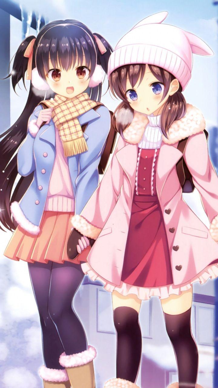 Winter outdoor girls anime friends 720x1280 wallpaper - Winter anime girl wallpaper ...