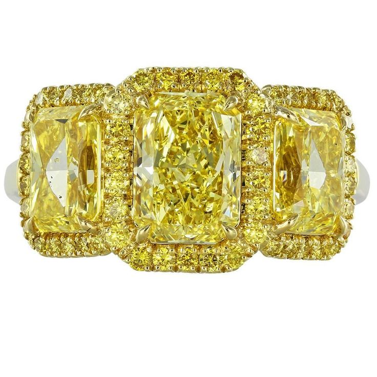 3.53 Carats Radiant Canary Stone Diamonds Gold Three Stone Ring | See more rare vintage Three-Stone Rings at https://www.1stdibs.com/jewelry/rings/three-stone-rings