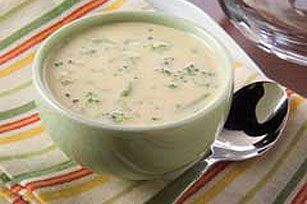 Creamy Broccoli Soup recipe. Easy and yummy. I used reduced fat cream cheese and Velveeta, skim milk and fresh broccoli.