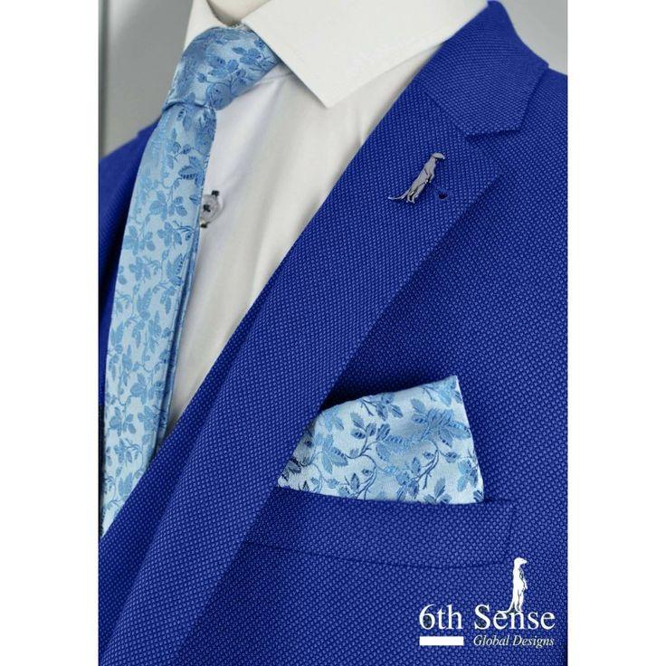 6th sense navy blue slim fit suit