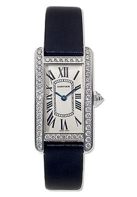 Cartier WB707331 Tank Americaine Women's 18K White Gold Silver Dial Diamond Bezel on Sale