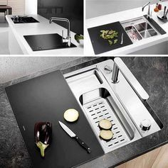 Kitchen sink black cover - great idea for kitchenette / laundry
