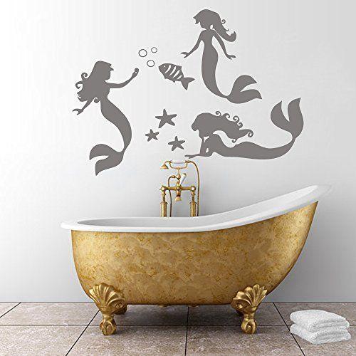 Mermaid Wall Decals Sea Stars Girl Vinyl Stickers Fish Bathroom Decor Home Spa Salon Nursery Room Decor (White,m), http://www.amazon.ca/dp/B01DIMO8HC/ref=cm_sw_r_pi_awdl_opwzxb1RKAP1C