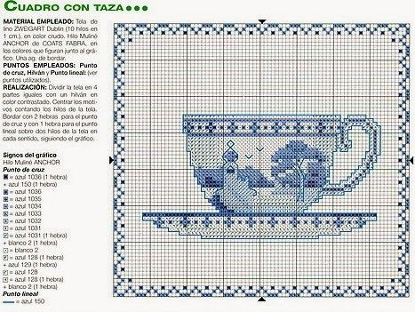 ♥Meus Gráficos De Ponto Cruz♥: Relógio, Bules e Xícaras Azuis em Ponto Cruz