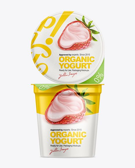 907g Yogurt Cup With Foil Lid Mockup. Preview