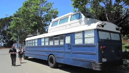 Couple transform school bus into tiny home on wheels  Meet Richard and Rachel, a couple who instead of going the RV route, purchased a 39-foot school bus and spent $12K transforming it into an off-the-grid home.