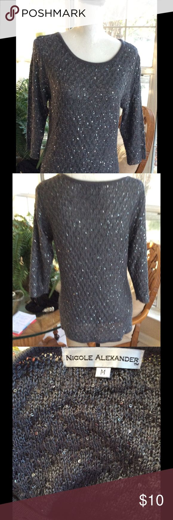 Sequin Sweater Sparkly sequin sweater.  Like new just in time for the holidays.  Worn once and in like new condition. Nicole Alexander Sweaters