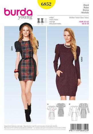 Schnittmuster: Kleid – Puffärmel – Colourblocking - Download - Schnitte Katalog - burda style
