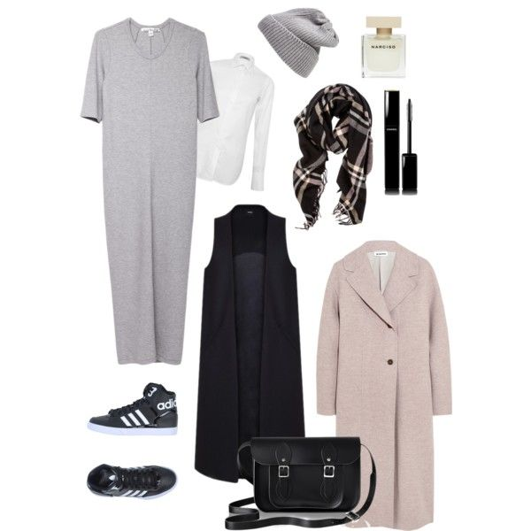 A fashion look from January 2015 featuring grey dress, white blouse and Jil Sander. Browse and shop related looks.