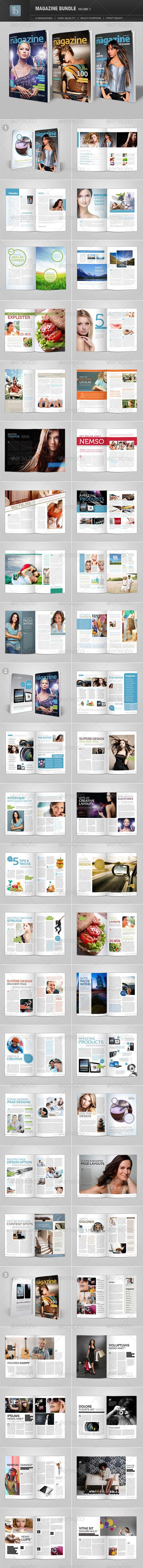 Magazine Bundle Template #design  Download: http://graphicriver.net/item/magazine-bundle-volume-1/2661597?ref=ksioks