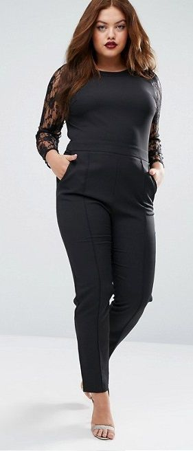 Plus Size Jumpsuit With Lace Sleeves
