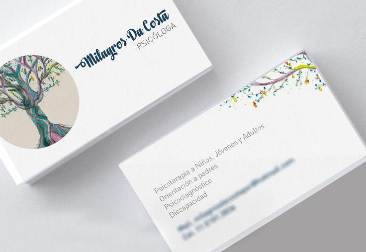 Ilustración y diseño de tarjetas personales para la Lic. Milagros Da Costa. Illustrated business cards for Lic. Milagros Da Costa. ...