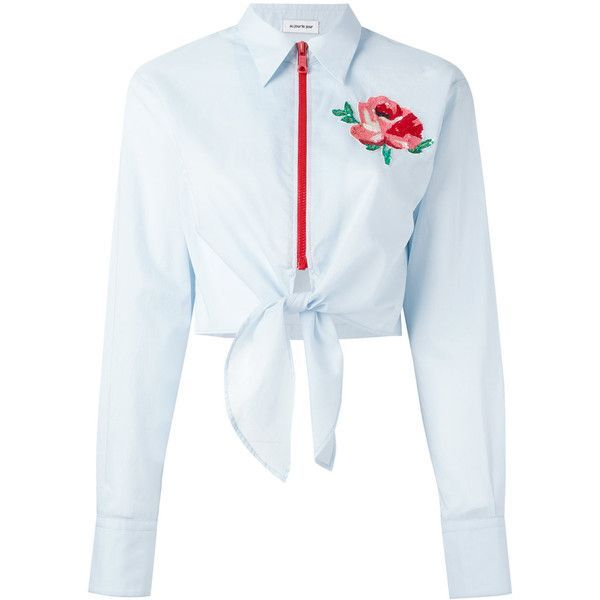 Au Jour Le Jour floral patch zip shirt (€320) ❤ liked on Polyvore featuring tops, shirts, crop top, blouses, blusa, blue, zipper crop top, cropped shirts, floral crop tops and shirt crop top