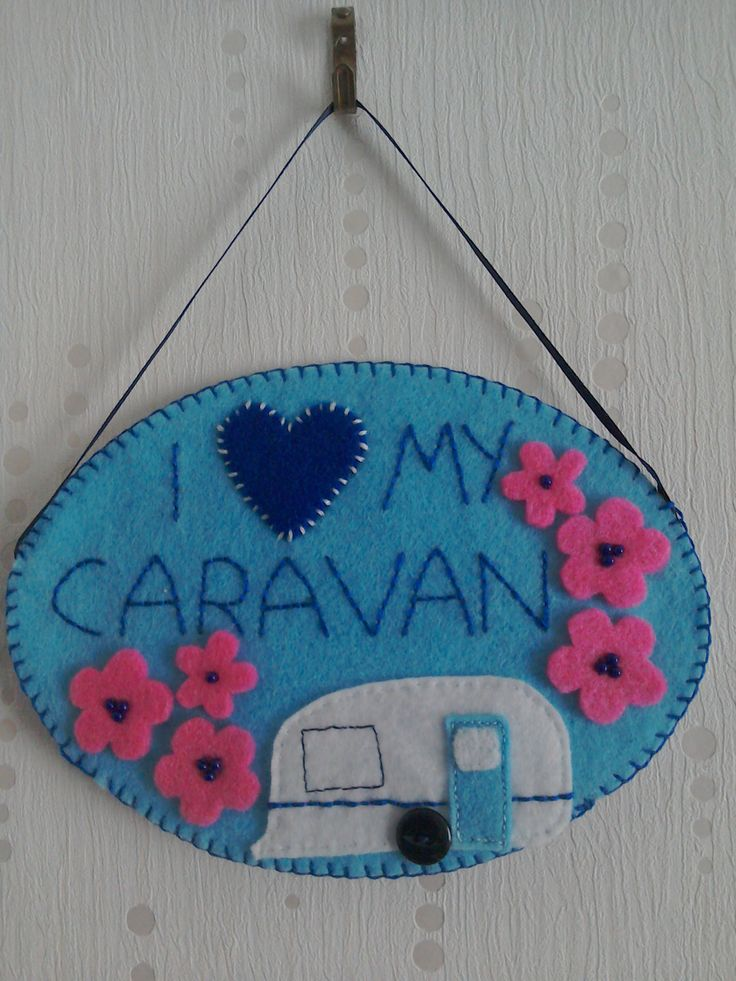 Caravan decoration, hanging decoration, felt decoration, I love my caravan by TheCraftingGardener on Etsy