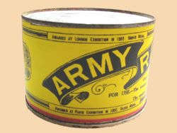 WW1 Food Rations Labels : Army Ration tin label, 1916