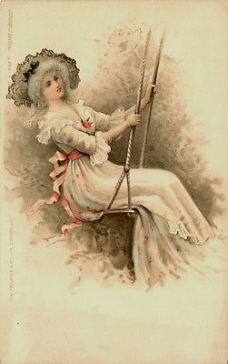 Artist Victorian Woman in Swing Glamour Collectible Antique Vintage Postcard Artist circa 1908 Victorian woman in swing. Unused C. W. Faulkner collectible antique vintage postcard series 285B in very