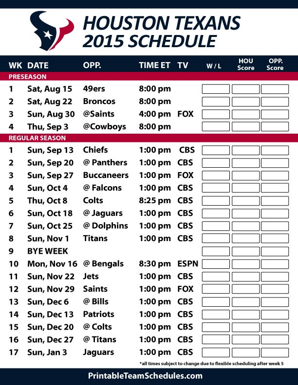 Houston Texans 2015 Schedule. Printable version here: http://printableteamschedules.com/NFL/houstontexansschedule.php