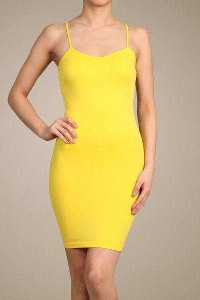 Yellow Cami Slip Dress - CAM011YE