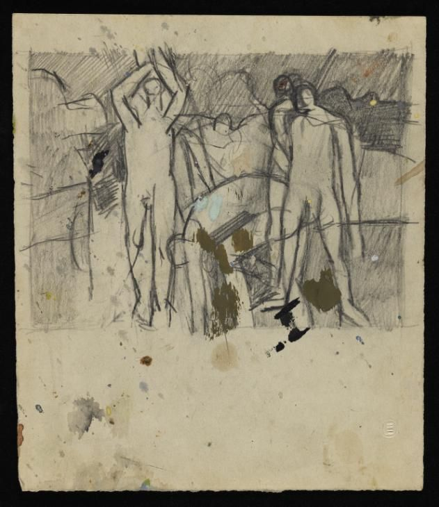 Keith Vaughan 'Drawing of figures moving boulders', [1953] © The estate of Keith…