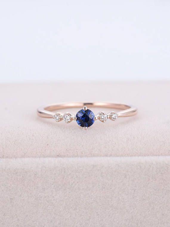 Sapphire Engagement Ring Rose Gold Cluster Diamond Ring Women