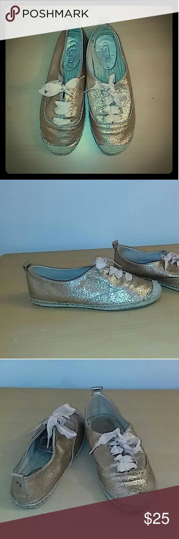 Coach tennis shoes FREE GIFT W/ PURCHASE Peach glitter sisal rope soles?? Cute for spring/summer?? One shoe has a slight blemish looks like it might be glue from the manufacturing process Coach Shoes Sneakers