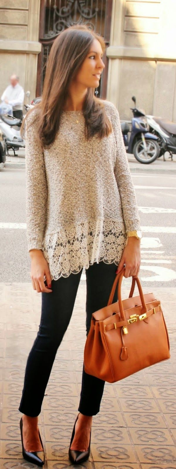 Chic Lace Sweater with Skinnies Jeans and Black Pu...