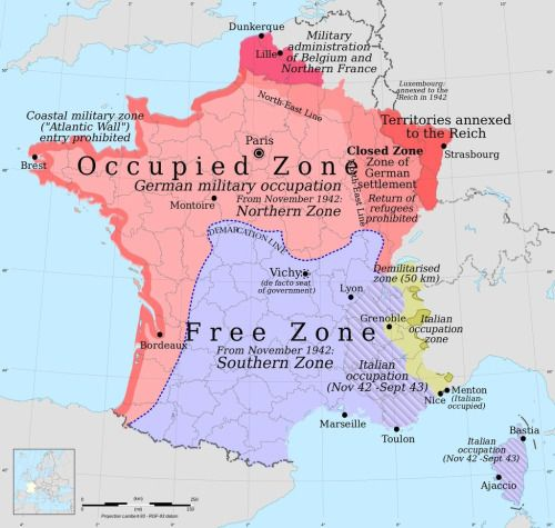Vichy France 1942 and 1943 was controlled much by Germany and its army. France, looking for help, gets aid from the United States and takes back control of Paris, France.