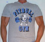 "The famous original ""Dog Barbell"" Pitbull Gym logo. The classic Pitbull Gym bodybuilding t shirt is available in three colors. 100% cotton with screen-printed Pitbull Gym logo. Be sure to also view the P103 Pitbull Shirt with a variation of this scre    Price:$18.00    Read More http://pinmybody.com/p101-pitbull-gym-classic-logo-bodybuilding-t-shirt/"