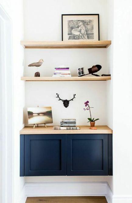 New living room ideas decor design floating shelves Ideas   – Dream House (Living Rooms,Kitchens & Outdoors)