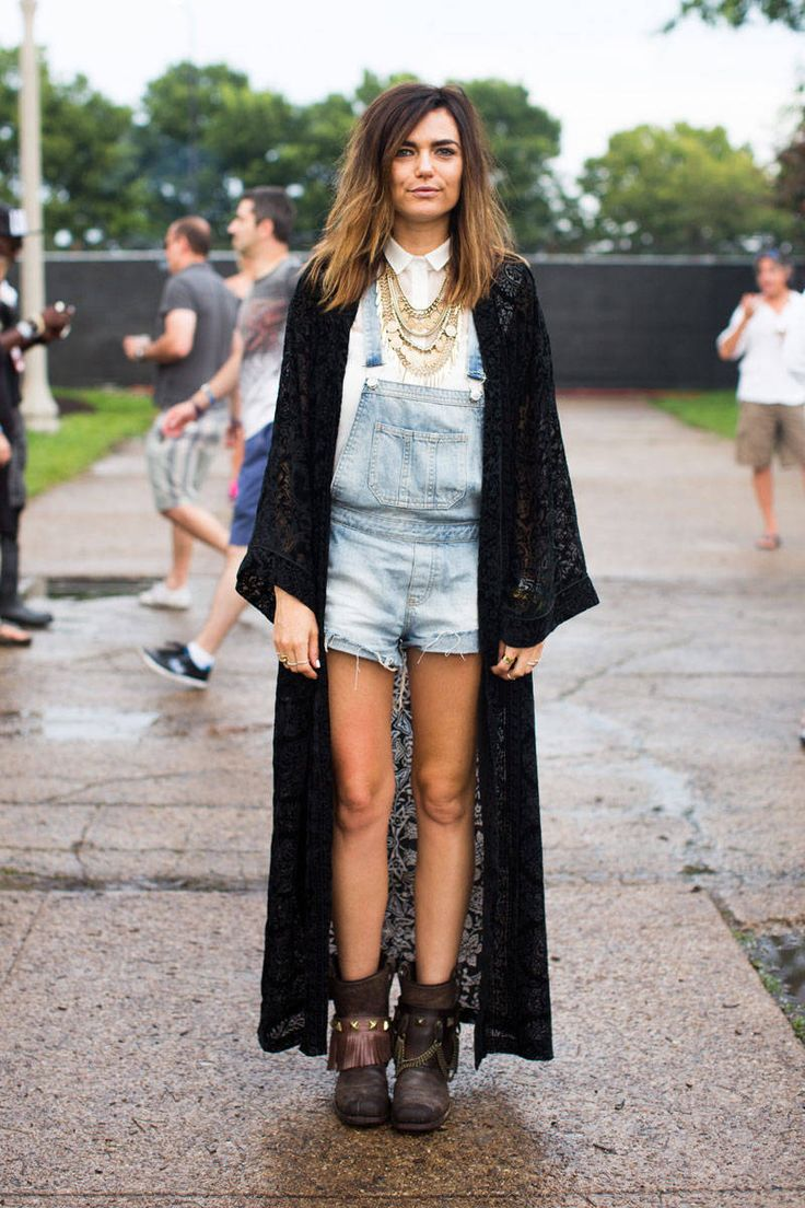 Favourite looks from Lollapalooza 2014. Festival Street Style - denim overalls, sheer black maxi cardi