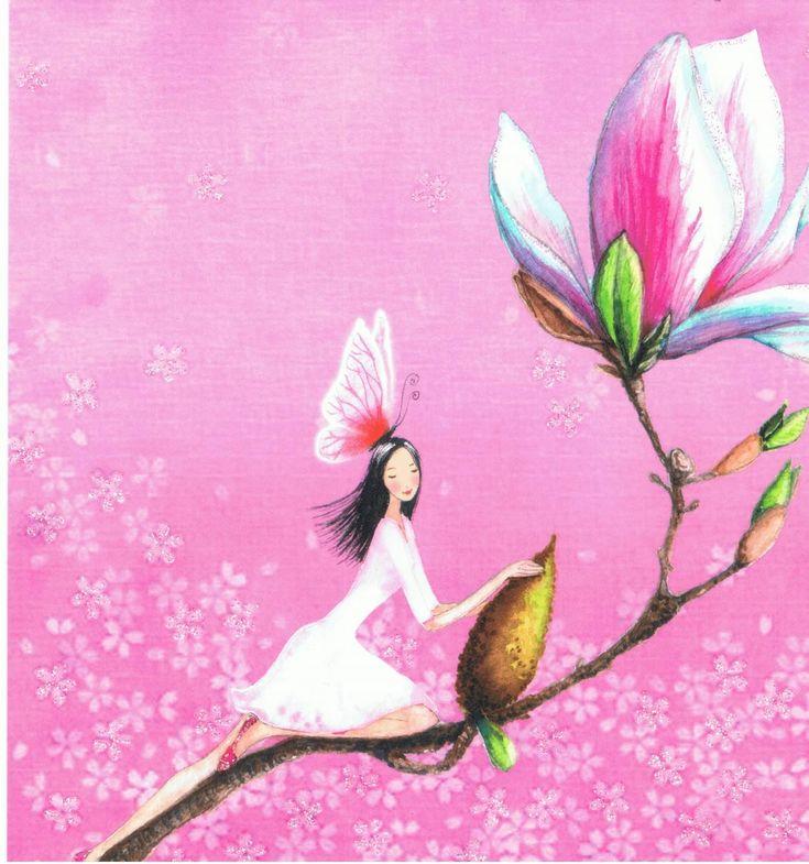 Mila Marquis : Fée sur la tige d'une fleur - Cartes d'Art/Mila Marquis - Lulu Shop