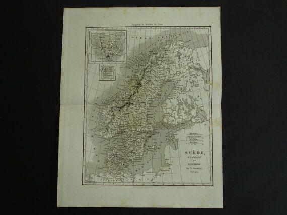 1852 SWEDEN old map of Sweden and Norway  by VintageOldMaps