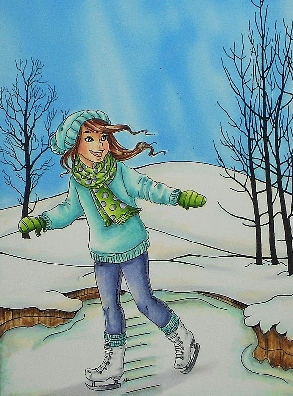 Glistening Snow and Ice. Skin: E000, E00, E21, E11, E04, R20 Hair: E50, E53, E57, YR31 Leggings: BV00, BV04, BV13, BV17 Sweater, hat and leg warmers: BG10, BG11, BG45, BG53, BG57 Scarf and mittens: YG01, YG03, YG25, YG17, YG 67, BV04 Ice: C1, E30, B32, BG93, BV00 Snow: C1, B000, BG10, E30, BV00 Wood: E31, E35, E57, E79 Sky: B32