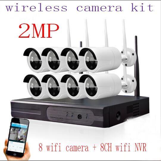 2MP  Home Security Camera CCTV System Wireless NVR 8CH CCTV Kit 1080P P2P IR Night Vision Plug Play Video Surveillance Wifi Kit #Affiliate