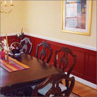 dining room paint ideas with chair rail apart from using mouldings to create a break. beautiful ideas. Home Design Ideas