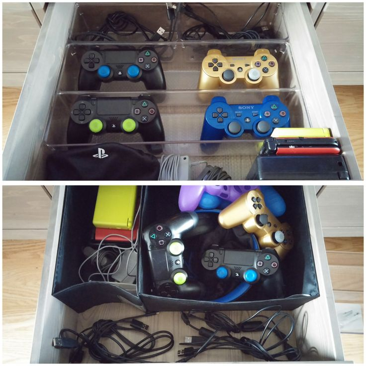"Video game console storage! IKEA HEMNES TV stand. InterDesign Linus Twin Drawer Organizer,  8""Dx16""Wx3""H for 4 controllers and 2 InterDesign Linus Drawer Organizers, 4""Dx8""Wx3""H, for micro"
