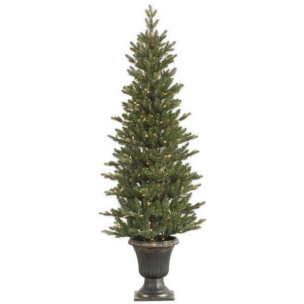 Artificial Christmas Tree -5ft x 25in Potted Mini Noble Pine Pencil... ❤ liked on Polyvore featuring home, home decor, holiday decorations, christmas, mini christmas ornaments, christmas holiday decorations, miniature christmas tree ornaments, christmas tree ornaments and christmas ornaments