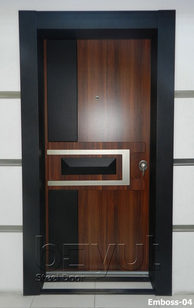 """*Model """"Emboss-04"""" *Steel Security Door, *Entrance Door *A Perfect combination of steel, stainless steel, pvc covering, luxury aluminium frame, double layered leaf structure, password-protected alarm system, fully-steel inner structure and more..."""
