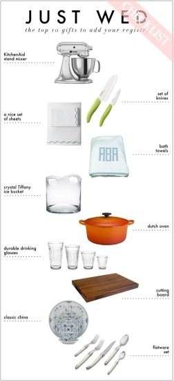 we love this clear and concise wedding registry checklist for the top ten gifts you should