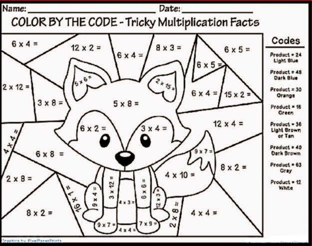 Color By Number Multiplication Fun math worksheets, Math
