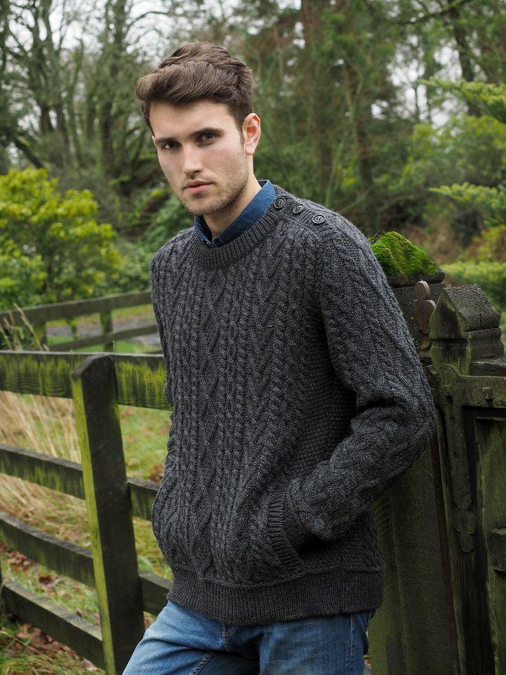 Crew neck Shoulder button Sweater
